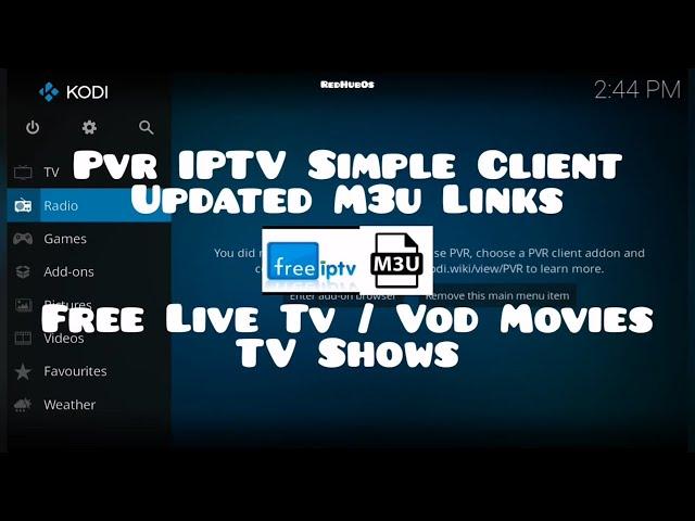 PVR IPTV Simple Client Kodi Tv Addon / Updated M3u Links /